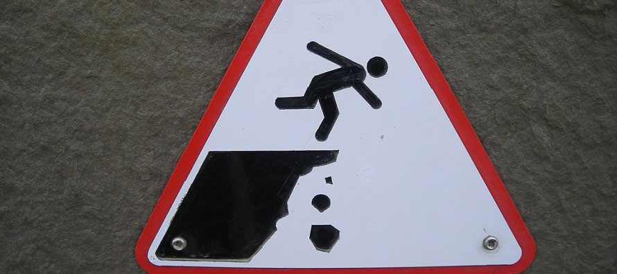 caution of a cliff sign